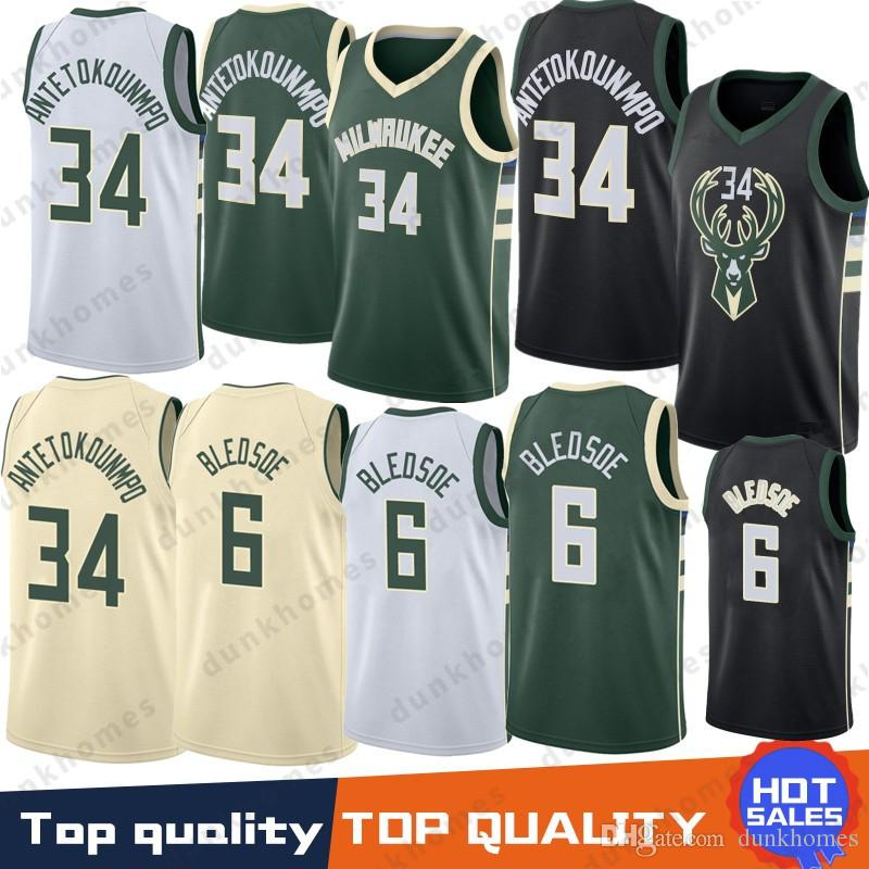 784565e36 34 Giannis Antetokounmpo Jersey 6 Eric Bledsoe 12 Jabari Parker Top Quality  2019 Embroidery Logos Basketball 100% Stitched Jersey 34 Giannis  Antetokounmpo 6 ...