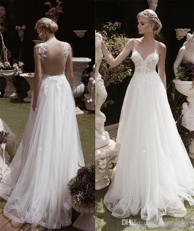 c705320afee4 Discount Illusion Bodice Backless Beach Wedding Dress New Design Princess  Wedding Dresses Turkey Sexy Deep V Neck Lace Wedding Dress For Cheap  Designer Gown ...