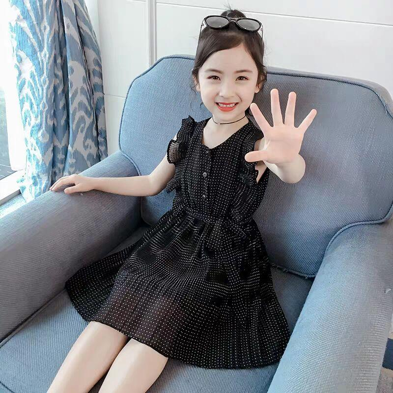 8a31053f8 Vestido de gasa para niña 2019 nuevo vestido de verano para niños botón  rojo punto botón arco linda linda web celebridad princesa vestido ...