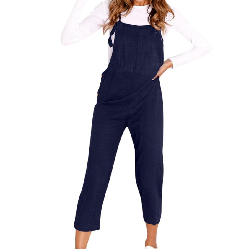 2019 New Bib Long Jumpsuit Button Strappy Dungarees Femme Autumn Women Streetwear Wide Legs Pants Trousers Plus Size S-2XL M0048