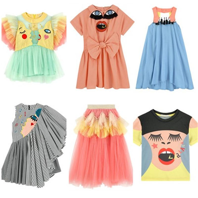 3ef25b646d7a0 2019 Summer Kids Clothes Sets Baby Girls Eyes Dresses Lace T shirt Pants  Fashion Party Raspberry Plum Children Tops Tees Dress