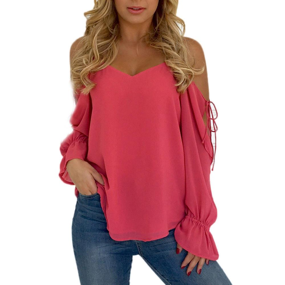 ae5010e9c7095 2019 Women Fashion Tops Open Shoulder Long Tie Sleeve Solid Color Shirt  Ladies Hot Pink Blouse Roupa Feminina  VE From Jamie10
