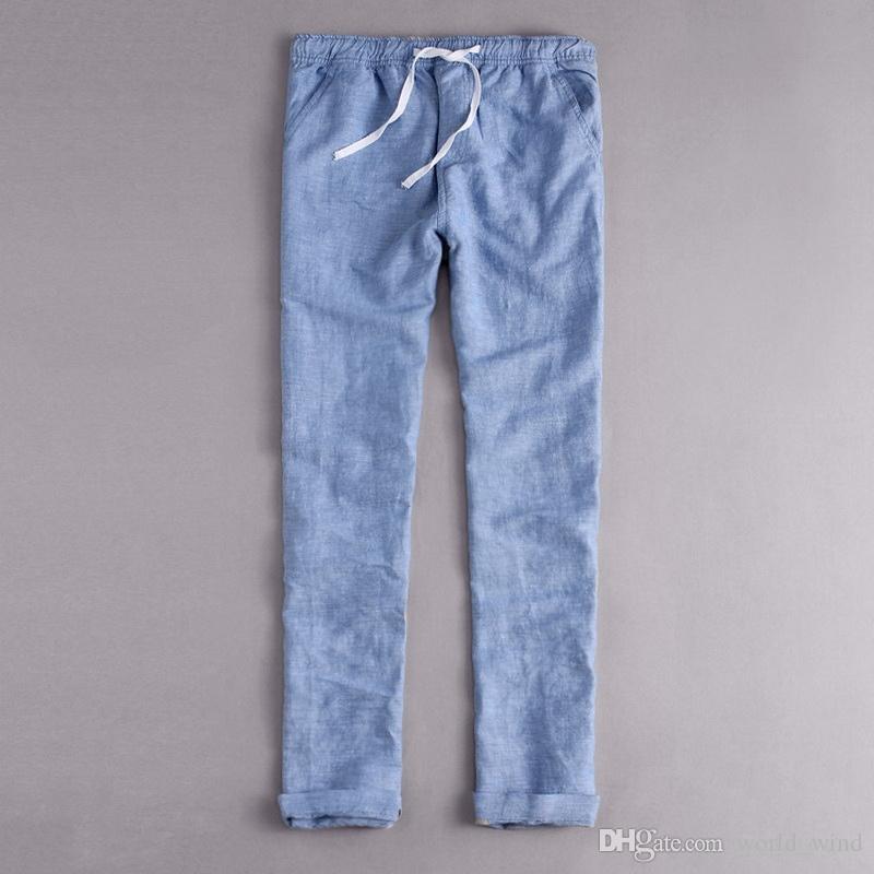 fea1614a91 Compre Estilo De Italia Ropa De Marca Moda Suelta Cintura Pantalones Largos  Hombres Casual Pantalones Azules Hombres Algodón Y Lino Pantalones Para  Hombre ...