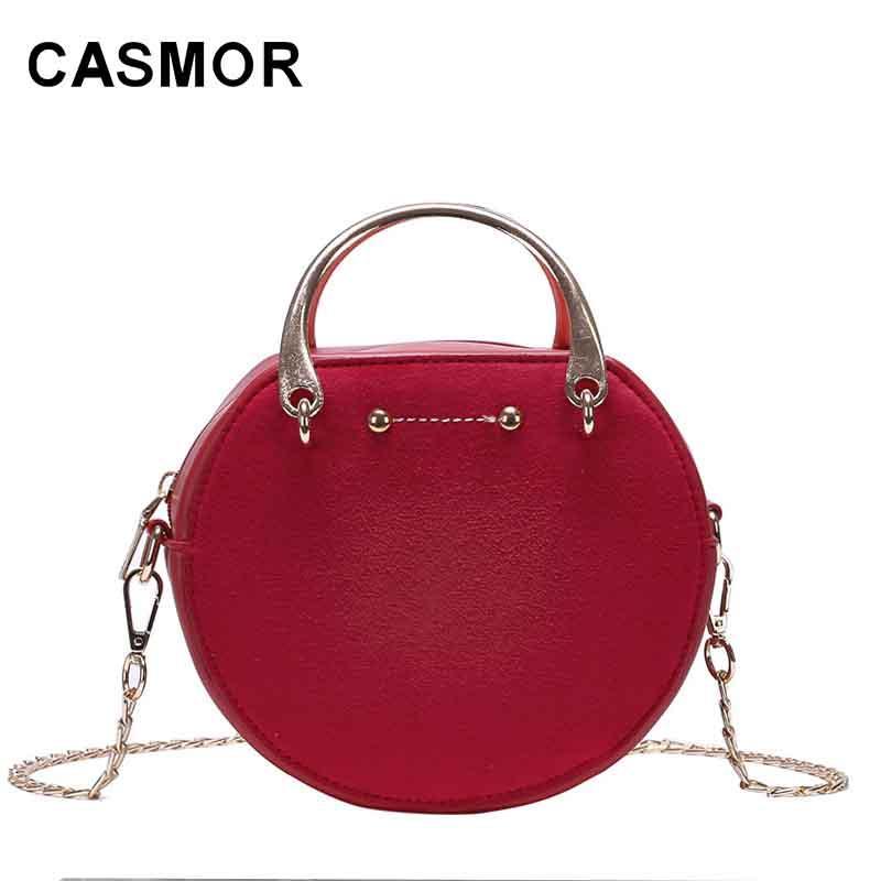 377fba8fad8 CASMOR Circular Design Fashion Women Shoulder Bag Leather Crossbody  Messenger Bags Ladies Purse Female Round Bolsa Handbag