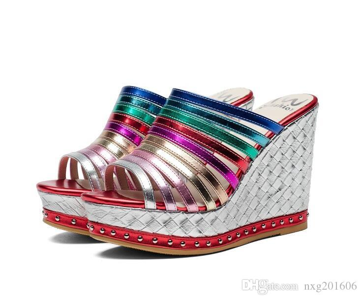 ee9b19a4a Designer Women Iridescent Color Rivet Wedge Slippers Sandals ...