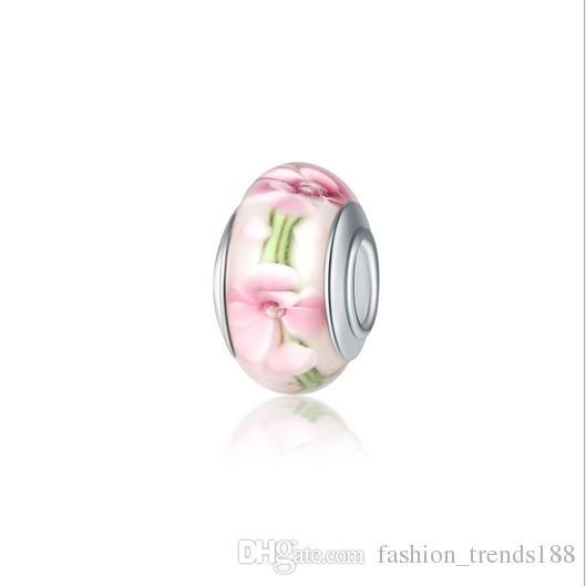 dcb1ebac207f Calidad superior 10 unids flor flor de murano lampwork granos del encanto  de cristal para pandora joyería europea encantos pulsera collar diy regalo  ...