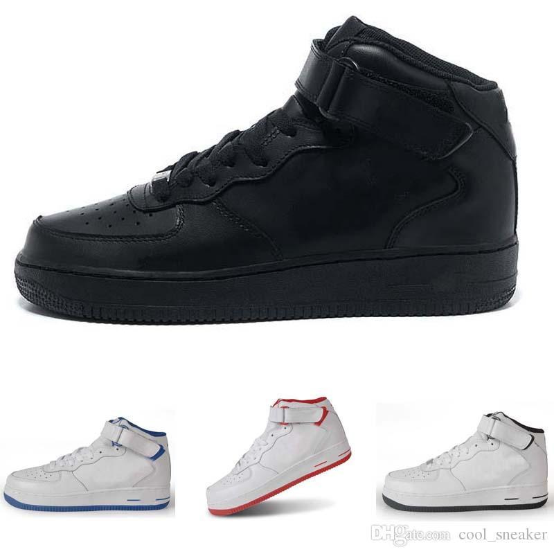 meilleur service d4913 cb792 nike air force one 1 af1 2019 MID HIGH Chaussures de train noires pour  hommes, toutes blanches