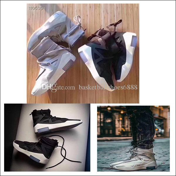 Authentic Air Fear Of God 1 Graue Schwarze Basketball Schuhe Licht Knochen Segel Männer Frauen Casual Turnschuhe Zoom Mit Original Box Größe 5.