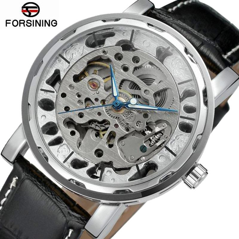 Forsining 2018 Hot Waterproof Automatic Watch Men Top  Mechanical Watches Men Skeleton Watch Unique Silver