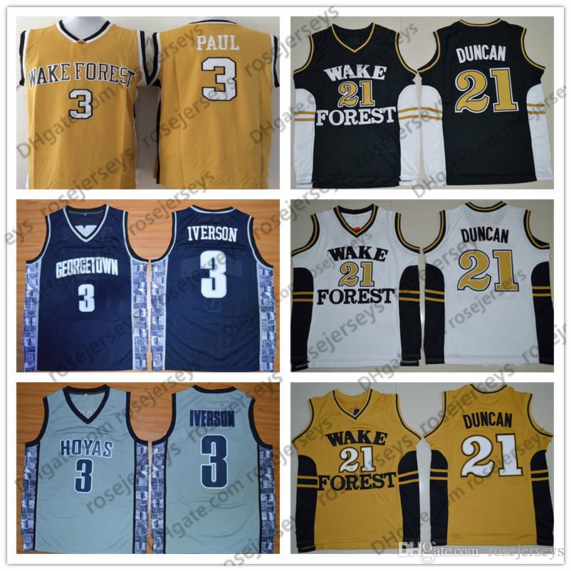 NCAA Georgetown Hoyas  3 Iverson Gray Navy Blue Retro Wake Forest Demon  Deacons  21 Duncan Black White Yellow Allen Tim Paul Vintage Jersey UK 2019  From ... 55426f2ab