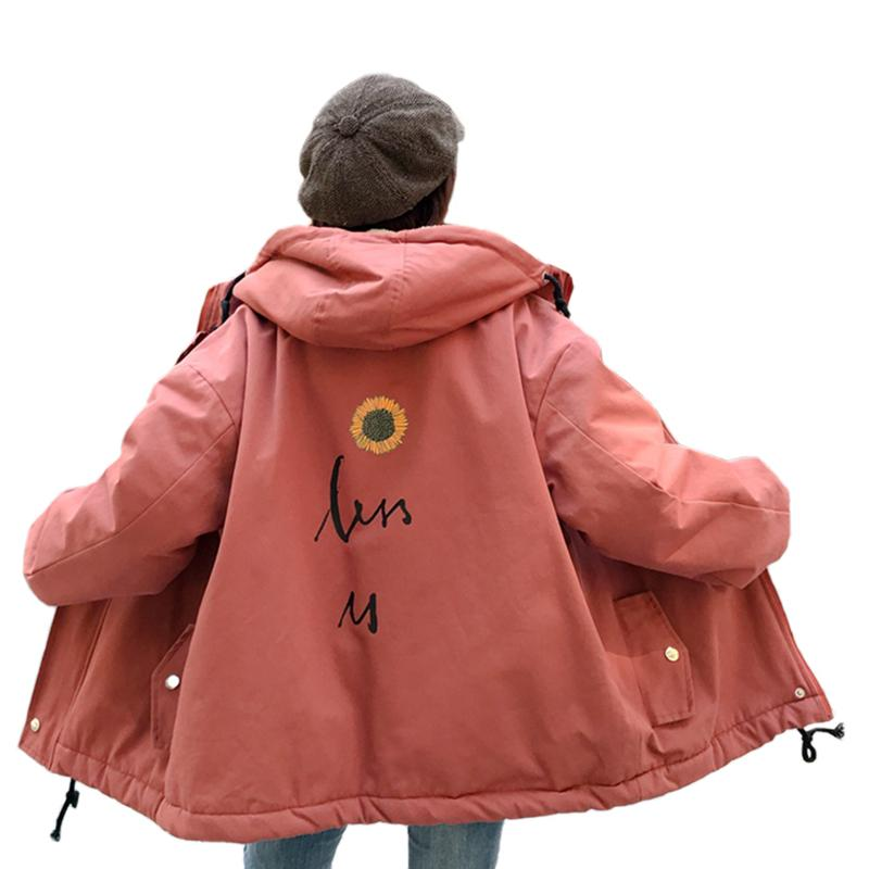 0f6709dbe9 Women s lambskin lamb fur parka Long Sleeve winter jacket women back  printed Thick Warm Parka oversized Hooded Coat Outwear