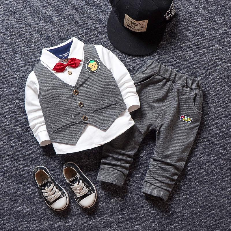 98e625dbbfad2 2019 Good Quality New Hot Sale Baby Boys Clothes Sets Autumn Spring Infant  Outfit Suit Toddler Boys Casual Shirt+Vest+Pants Sets From Yosicil08, ...