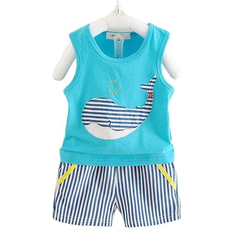 Good Quality Summer Baby Boy Clothes Children Boys Clothing Sets Kids Clothes Set Cartoon Whale Tops Striped Pants 2pcs Sport Suit