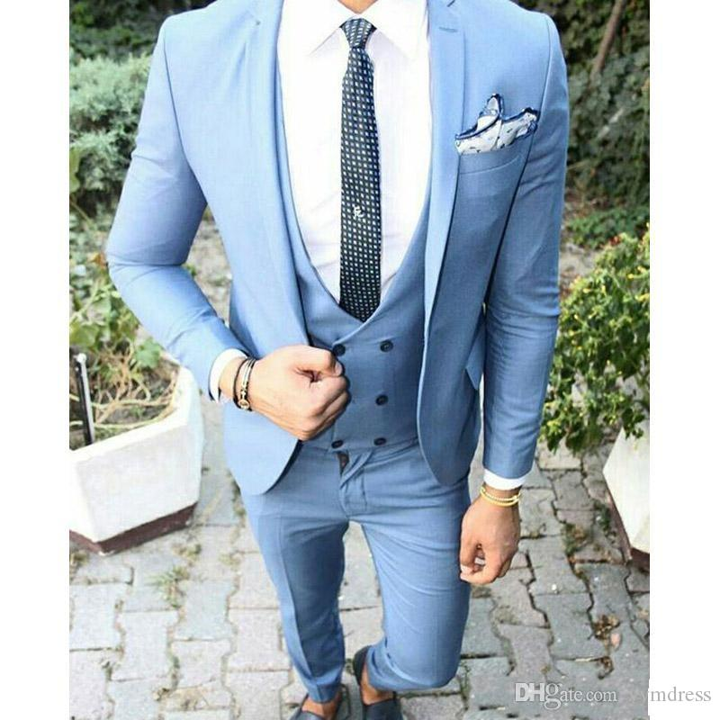 Light Blue Men Suits 2019 Wedding Groom Tuxedos Three Piece Slim Fit Vest Custom Made Blazer (Jacket+Pants+Tie+Vest)