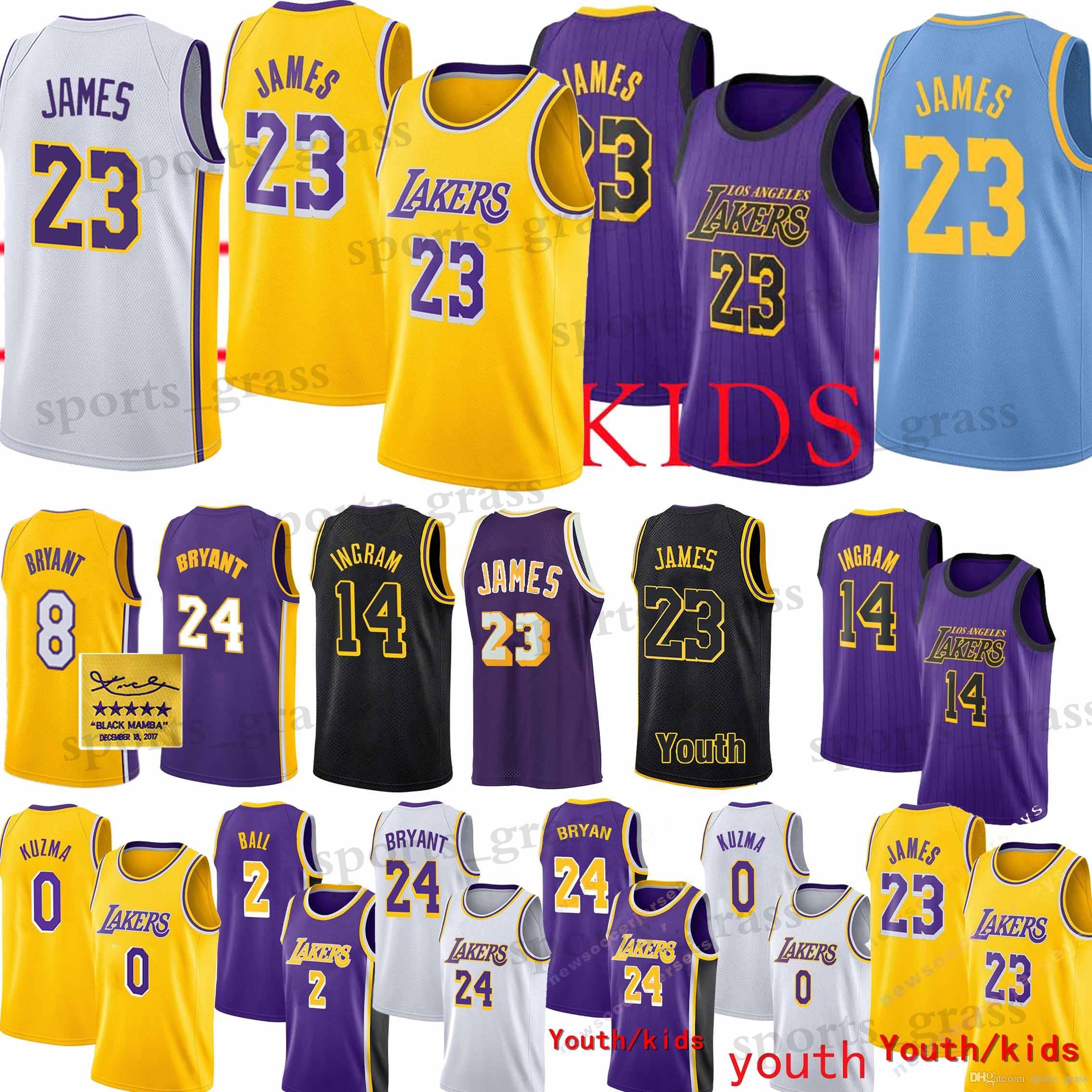 2f24ca561b8a 2019 23 LeBron James Jersey Los Angeles 24 Kobe Laker Bryant Jerseys ...