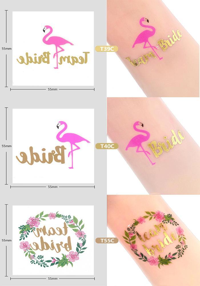 Bridal Shower 5 Pz / lotto Team Bride To Be Autoadesivi del tatuaggio della sposa Hen Bachelorette Party Decor Wedding Party Decorazione di Natale, 5