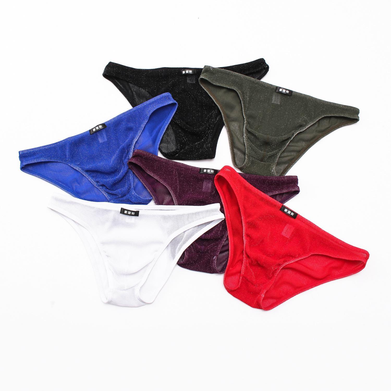 0067b20e8928 Compre Hombres Sexy Ropa Interior Cintura Baja U Bolsa De Malla De Malla  Calzoncillos Para Hombres Tanga Discoteca Show Briefs Gay Tangas G Cuerdas  Color De ...