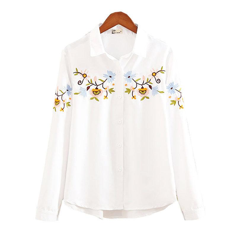 2019 Fashion Autumn White Floral Embroidered Women Casual Shirts