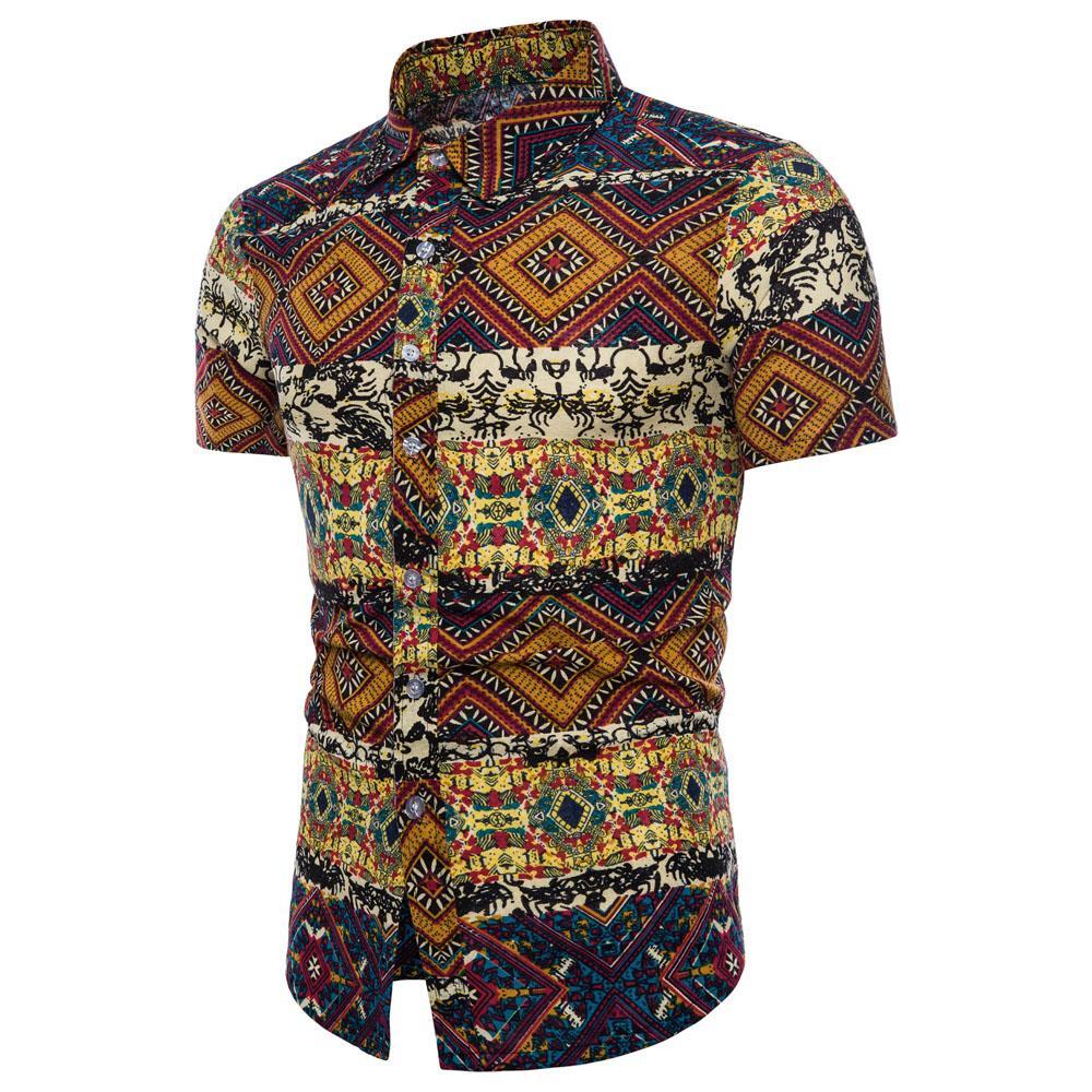 online retailer 24145 08997 Hemiks Uomo Camicie hawaiane Stampa floreale Estate Casual Girocollo  maniche corte Top maschili Moda Camicie