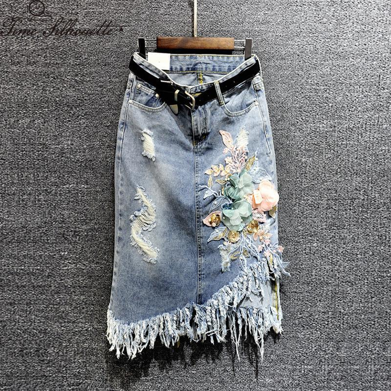 New Denim Floreale Paillettes Nappa Donne Lungo Jean Gonna Autunno Harajuku Fidanzato Gonne Casual S148 C19041601