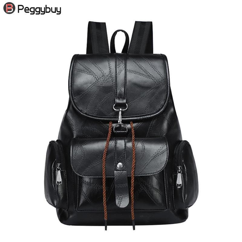 6ee7baa93cf4b Satın Al Siyah Trendy Kadın İpli PU Deri Sırt Çantaları Genç Kızlar Küçük  Okul Çantaları Kadınlar Yüksek Kaliteli Rahat Sırt Çantası, $34.91    DHgate.Com'da
