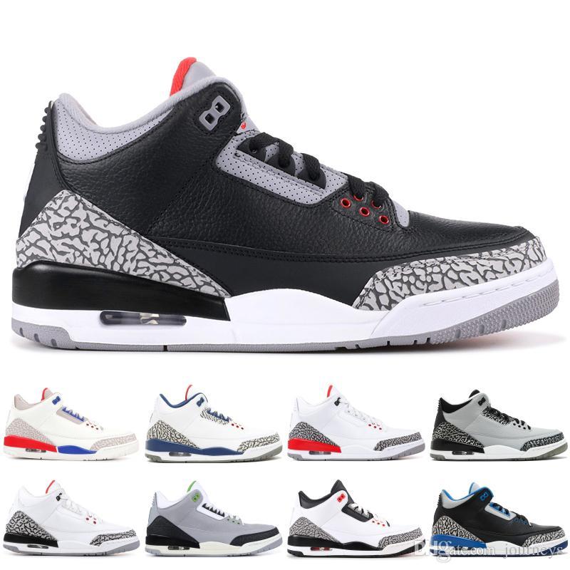 Nike air jordon retro 3 OG BG Hombres Zapatillas de baloncesto Cemento negro Moca Clorofila Agradecido 3s Juego de caridad Hombres Zapatillas de