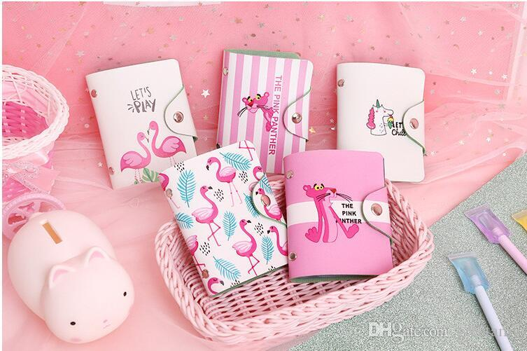 Cute flamingo 20 bits card ID holders case PU leather function business card holder women credit passport card bag