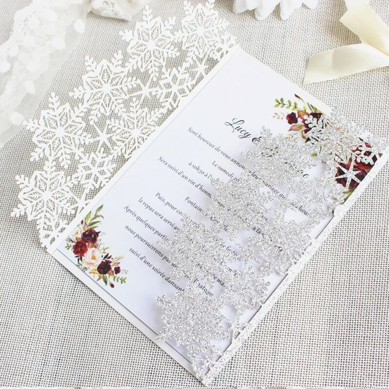 50pcs Christmas Snowflake invitations snow Flower Laser Cut Wedding Invitation Card custom white Lace Invites