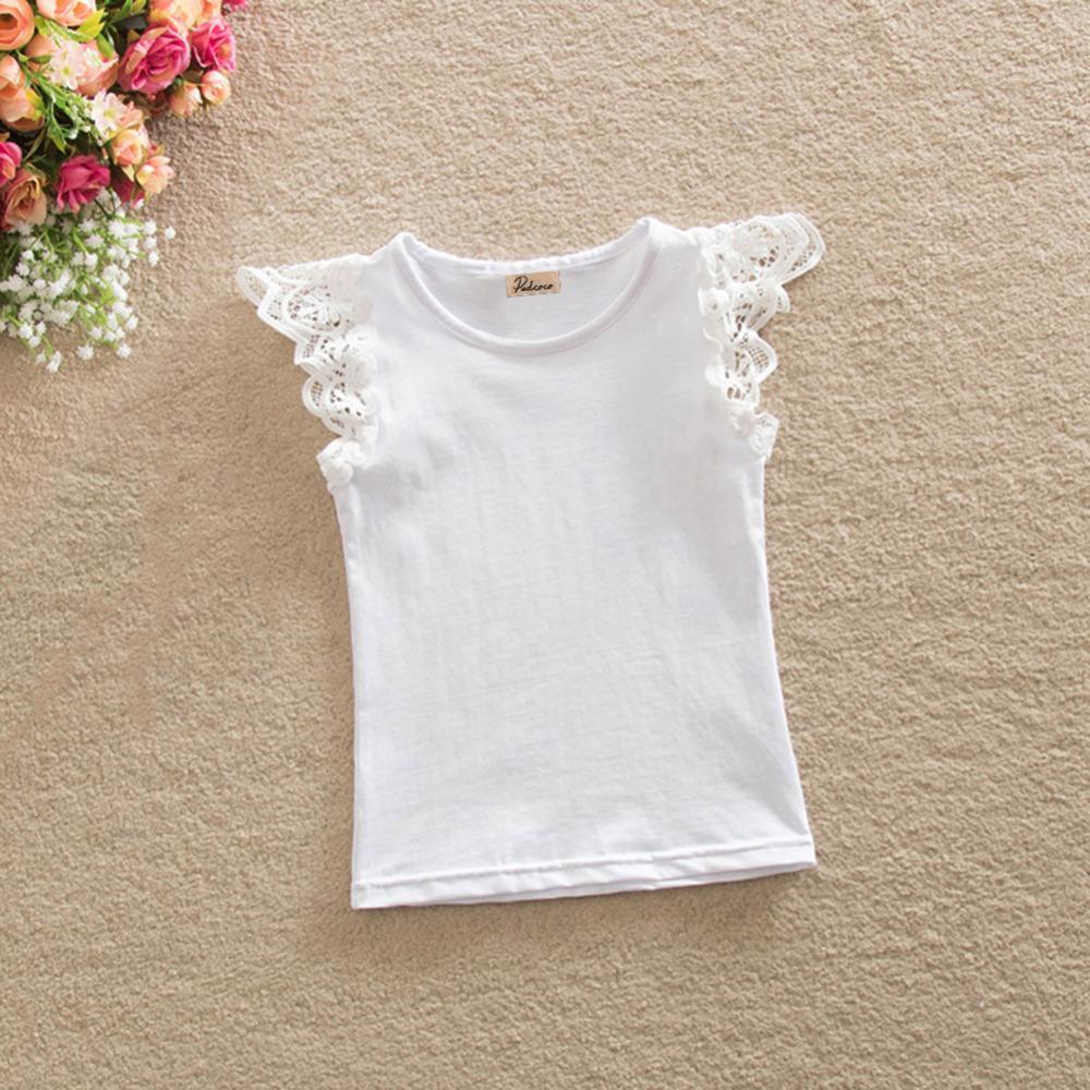 7712ec30 2019 Brand Kids Baby Girls Summer T Shirts Casual Sleeveless Spliced Lace  Tee Shirt Tops Cotton Children Girls Outfits B0050 From Nextbest10, ...