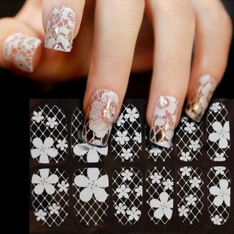 Grosshandel Weisse Spitze Diamant Blumen Aufkleber Nagel Kunst Spitze