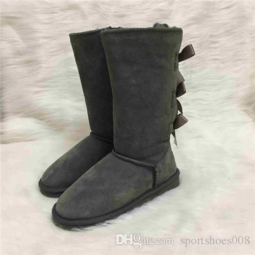 designer Boots Australian Style Women Snow Boots 3-Bow Back Waterproof 100% Cow Suede Leather Knee-high Winter Boots Brand IVG