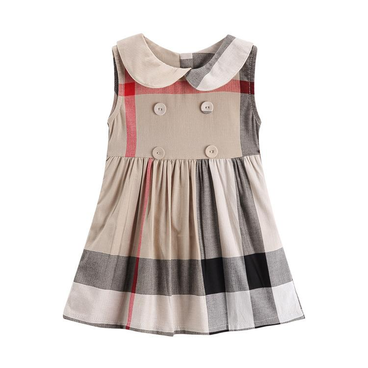 04911364cac46 Retail baby girls cotton dress summer child clothes Girls doll collar  sleeveless A-line skirt cotton baby kids big plaid dress