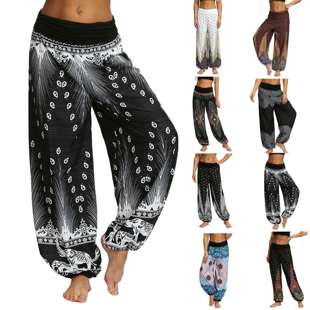 7779228d8 2019 Casual Hombres Mujeres pantalones pantalones de harén tailandés Hippy  Baggy Boho sueltos Aladdin Boho Festival Hippy Smock Pantalón de cintura ...