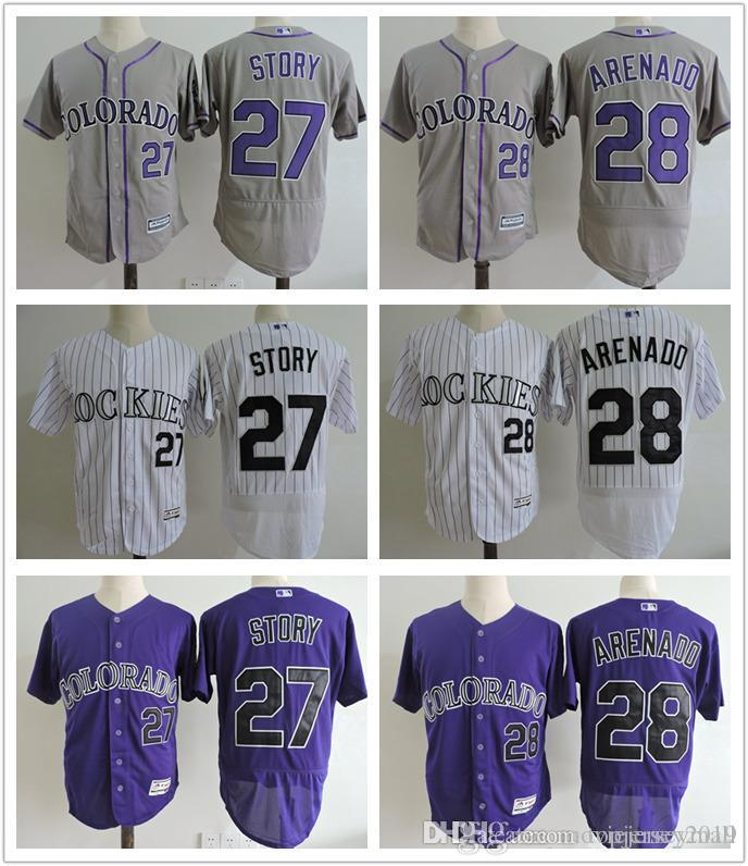 premium selection 5e2e4 73cb7 #28 Nolan Arenado Jersey 19 Charlie Blackmon 27 Trevor Story New Flexbase  Colorado Rockies Baseball Jerseys White Pinstripe Purple Grey