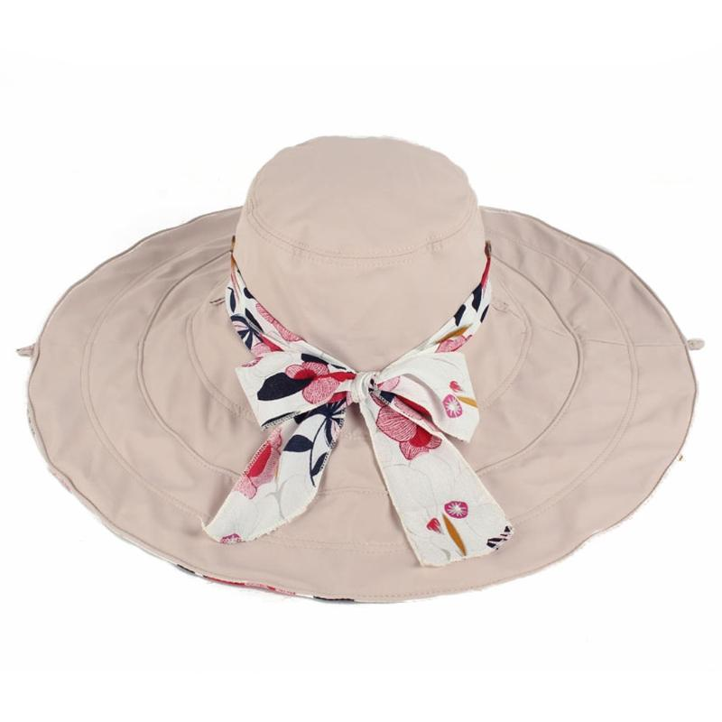 61f3fc8c Women Foldable Floppy Floral Reversible Wide Brim Beach Sun Hat With ...