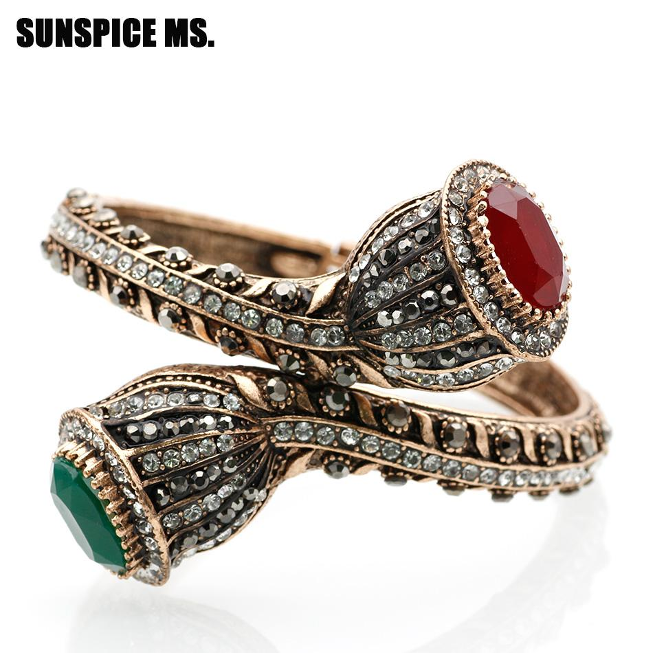 Bohemia Vintage Charm Bangles For Women Antique Gold Red Resin Lily Flower Bracelet Full Crystals Turkish Bijuteria Jewelry 2018