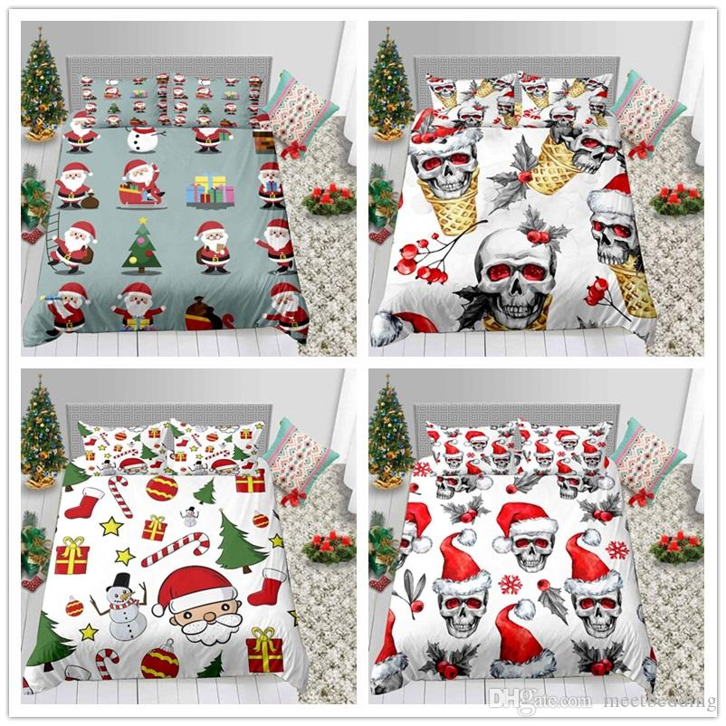 Cartoon 3D Print Skull Christmas Bedding Set with Pillowcase 2/3pcs Quilt Cover 2/3pcs for American European of Bedding Suit