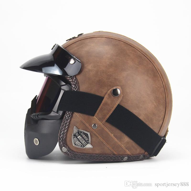 PU Leather Helmets 3/4 Motorcycle Chopper Bike helmet open face vintage motorcycle helmet with goggle mask