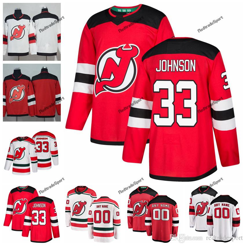 huge discount 35b63 7a0a7 2019 Cameron Johnson New Jersey Devils Hockey Jerseys Custom Name Alternate  White Red #33 Cameron Johnson Stitched Hockey Shirts