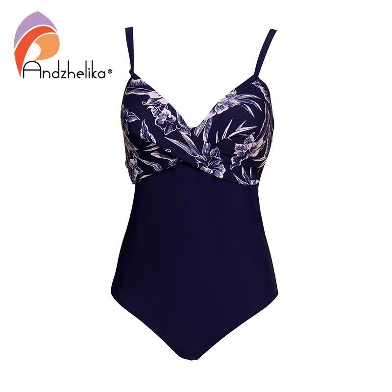9e1a8befc73 2019 Andzhelika Plus Size Swimwear Women One Piece Swimsuit Summer ...