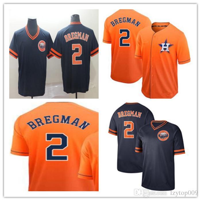 outlet store 10438 d9930 custom 2019 Men s Astros 2 Alex Bregman Cooperstown Collection Fade Legend  V-Neck women kids Jersey
