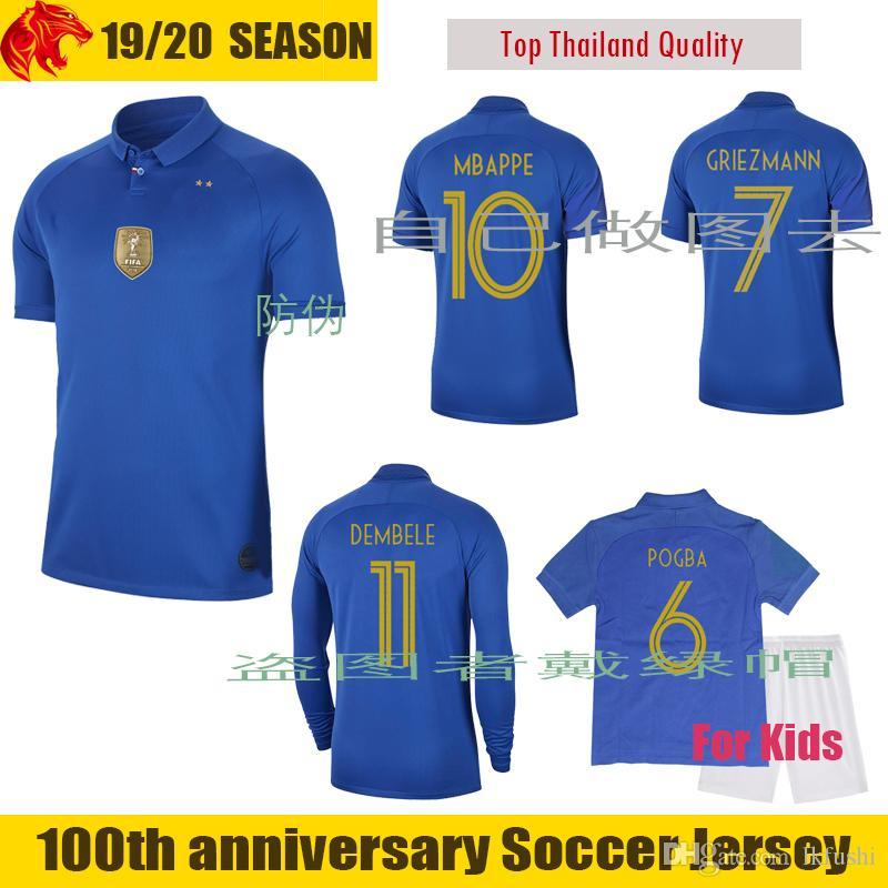 aa4eadd1df87f 100th Anniversary Francia Camiseta De Fútbol MBAPPE 2018 2019 DEMBELE  GRIEZMANN Camiseta De Fútbol Femenina Francia Niños POGBA Larga Camiseta  Por Lkfushi