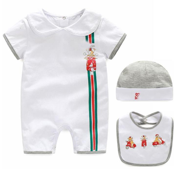 Kinder-Designerkleidung für Jungen Brief Jumpsuit Newborn Spielanzug-Baby-Säuglingskleinkind-Hut + Bib + Robe Set Luxus-Baby-Designerkleidung