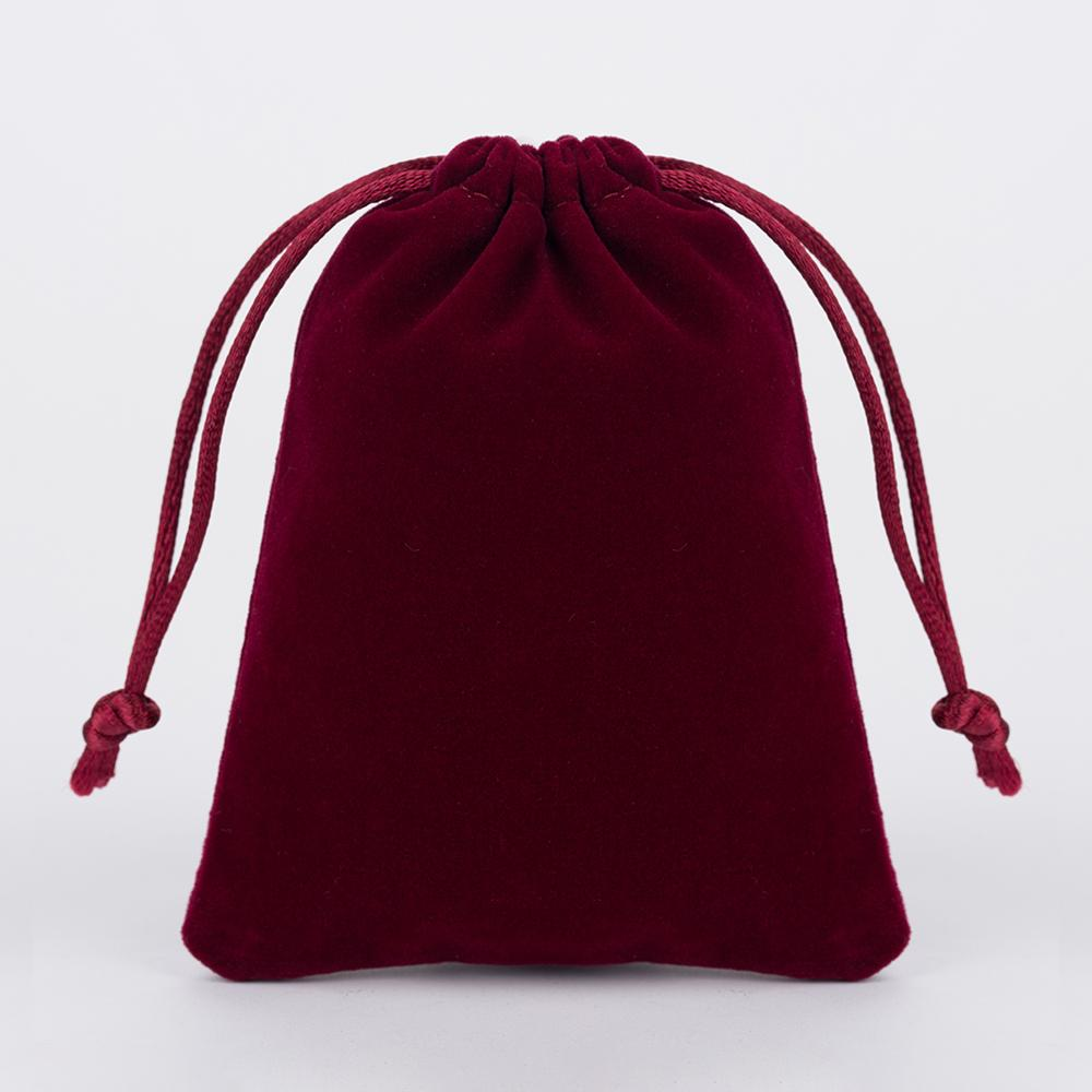 500 unids 7x9 cm Rojo Oscuro Al Por Menor de Joyería de Terciopelo Regalo Empaquetado Bolsas de lazo Bolsas, Navidad / Bolsa de Regalo de boda