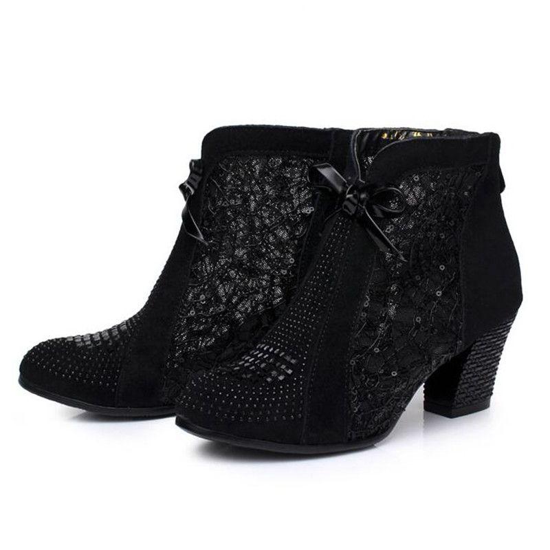 Mais Populares 2018 Primavera New Black Cow Leather Mulheres Botas de Moda Ankle Boots de Strass Confortável Não-slip Mulheres sapatos