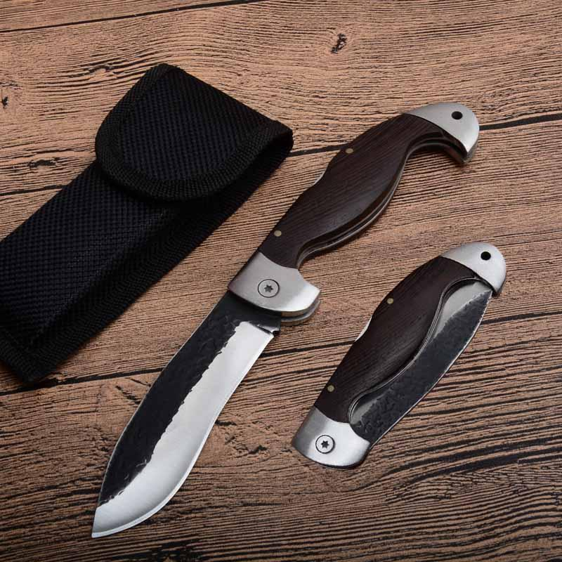 Free DHL Outdoor Tool China Tactical Folding Knife 440C 59HRC Blade Wood Handle Camping EDC Hunting Pocket Knives Christmas Gift P583F