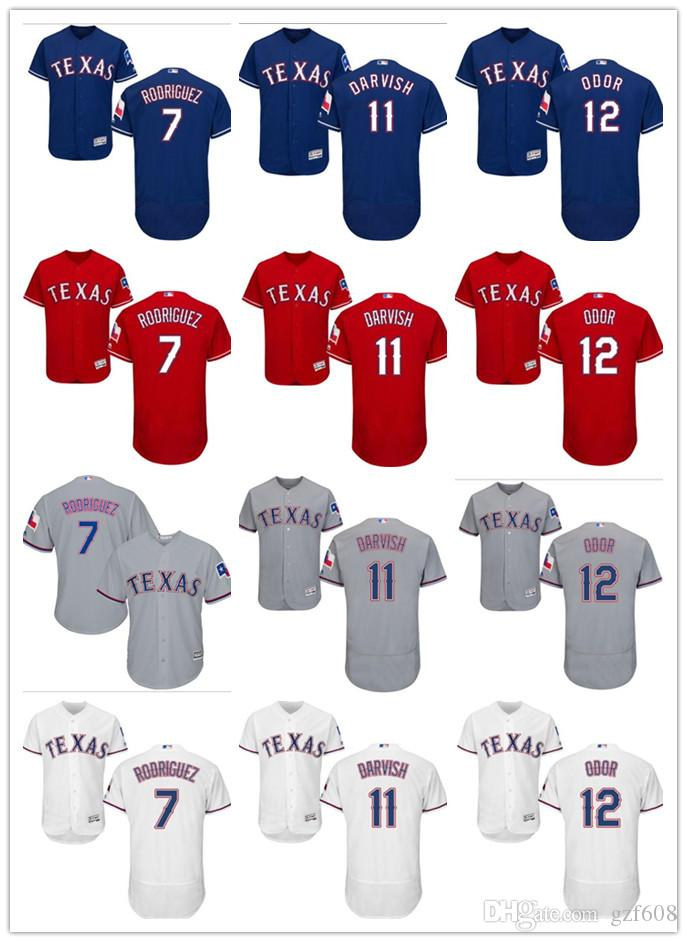 reputable site 617bb 0696c custom Men s women youth Texas Rangers Jersey #7 Ivan Rodriguez 11 Yu  Darvish 12 Rougned Odor Home Red Blue Grey White Baseball Jerseys