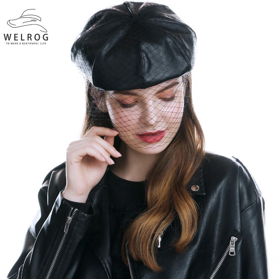 WELROG Fascinating Black Winter Hat Chic Leather French Beret with Veil Mesh Show Double Layer Women Beret Beanies Cap