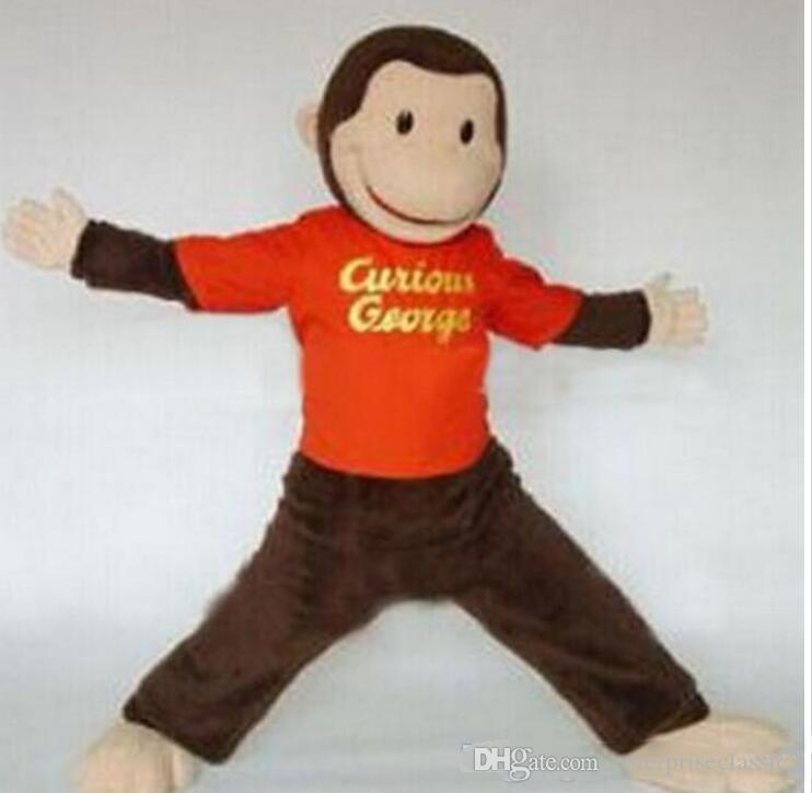 High quality Adult size Cartoon Curious George monkey Mascot Costume mascot halloween costume christmas Crazy Sale