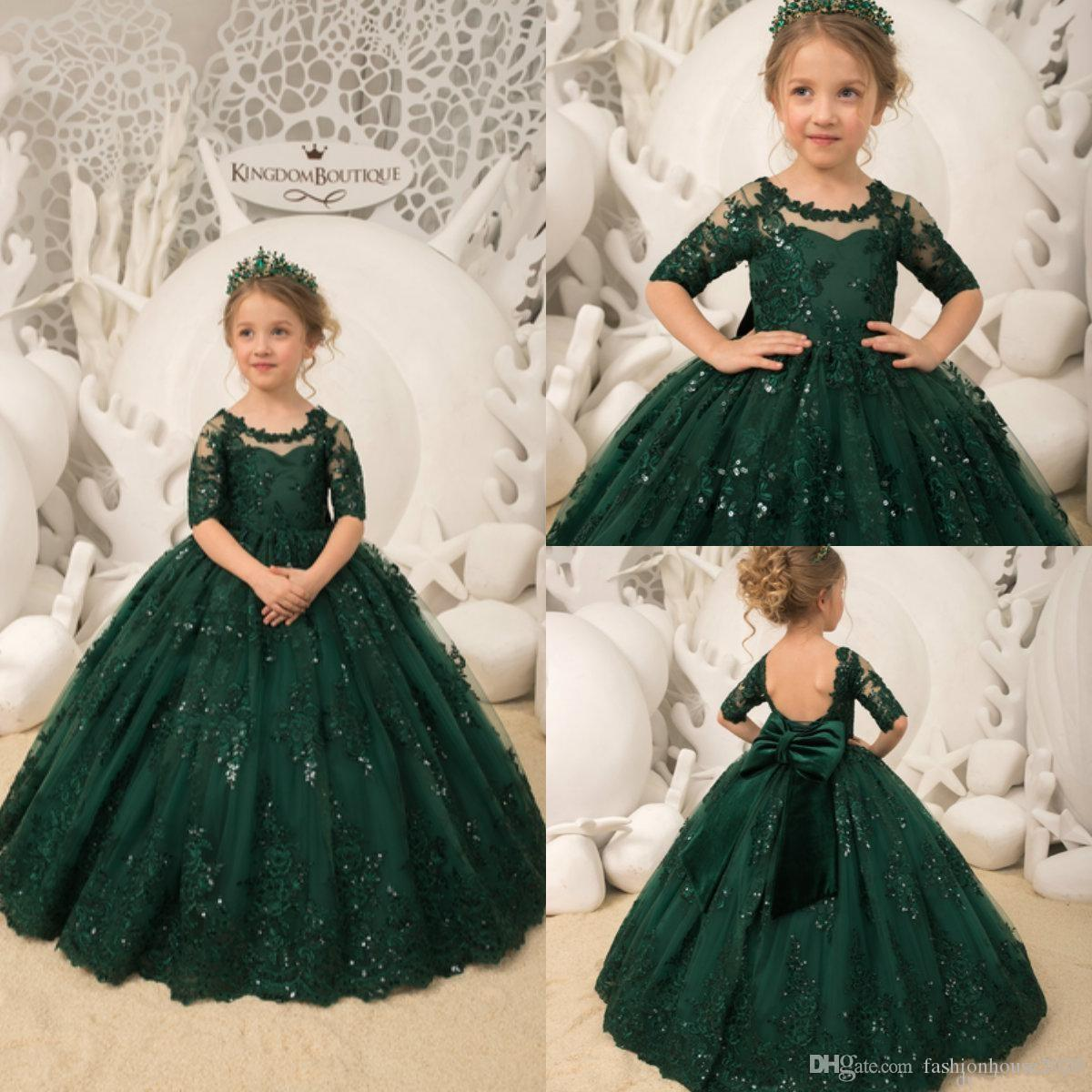 fef0d7e530 2019 New Cheap Dark Green Flower Girls Dresses Jewel 1/2 Sleeve Lace  Appliques Sequins Ball Gown Backless Child Birthday Girls Pageant Gowns Girls  Clothes ...